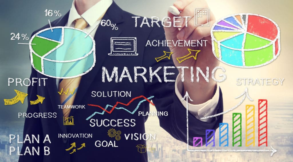 Businessman drawing business marketing concepts with chalk
