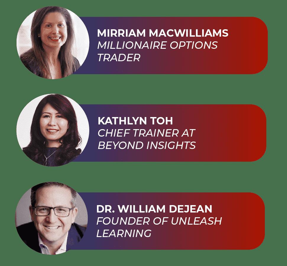 Speaker Marketing for Mirriam MacWilliams, Kathlyn Toh, Dr. William Dejean